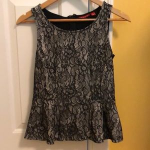 Black peplum/baby doll style lace pattern tank top